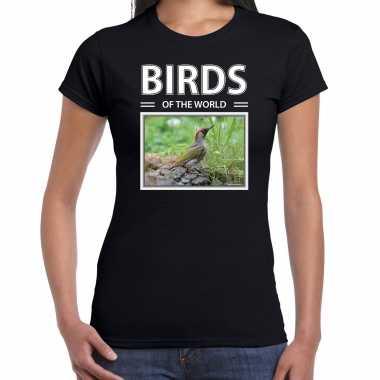 Groene specht foto t-shirt zwart voor dames - birds of the world cadeau shirt spechten liefhebber kopen