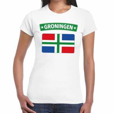 Groningen vlag t-shirt wit voor dames kopen