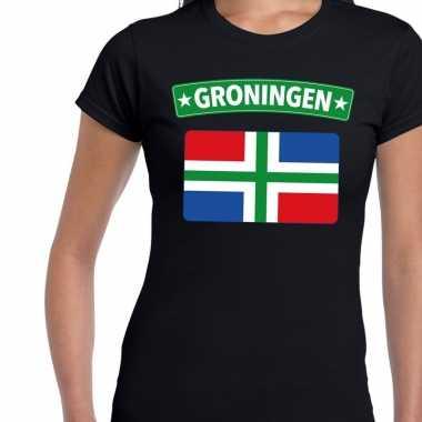Groningen vlag t-shirt zwart voor dames kopen