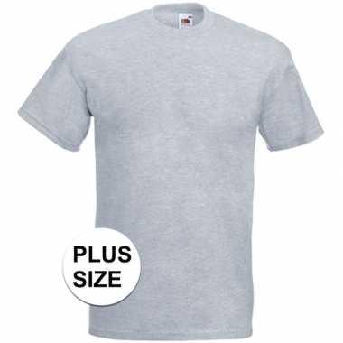 Grote maten basis heren t-shirt licht grijs met ronde hals kopen