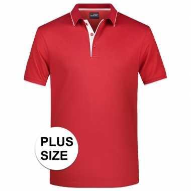 Grote maten rood/wit premium poloshirt golf pro voor heren kopen