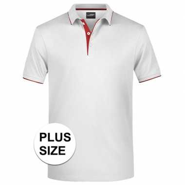 Grote maten wit/rood premium poloshirt golf pro voor heren kopen