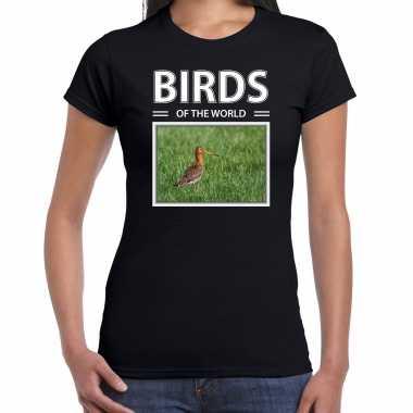 Grutto foto t-shirt zwart voor dames - birds of the world cadeau shirt gruttos liefhebber kopen