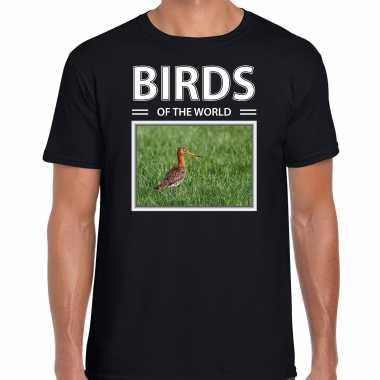 Grutto foto t-shirt zwart voor heren - birds of the world cadeau shirt gruttos liefhebber kopen
