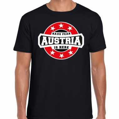 Have fear austria / oostenrijk is here supporter shirt / kleding met sterren embleem zwart voor heren kopen