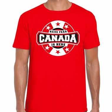Have fear canada is here supporter shirt / kleding met sterren embleem rood voor heren kopen