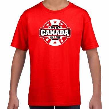 Have fear canada is here supporter shirt / kleding met sterren embleem rood voor kids kopen