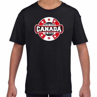 Have fear canada is here supporter shirt / kleding met sterren embleem zwart voor kids kopen