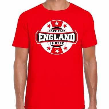 Have fear england / engeland is here supporter shirt / kleding met sterren embleem rood voor heren kopen