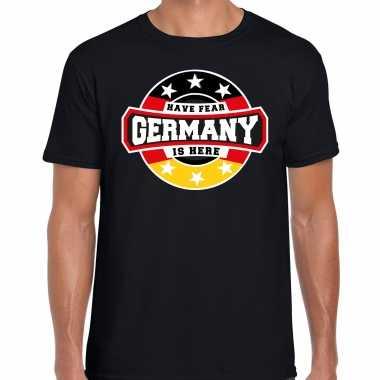 Have fear germany / duitsland is here supporter shirt / kleding met sterren embleem zwart voor heren kopen