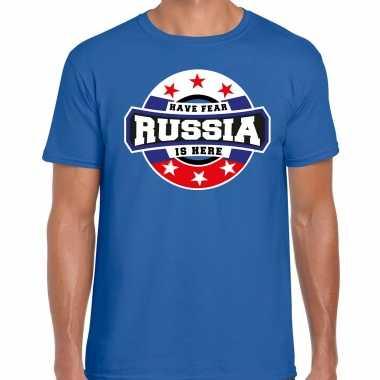 Have fear russia / rusland is here supporter shirt / kleding met sterren embleem blauw voor heren kopen