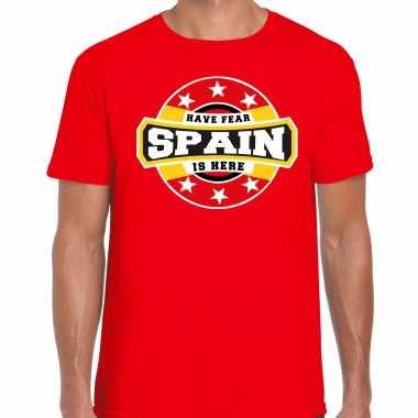 Have fear spain / spanje is here supporter shirt / kleding met sterren embleem rood voor heren kopen