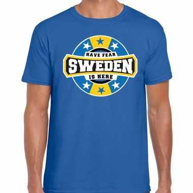 Have fear sweden / zweden is here supporter shirt / kleding met sterren embleem blauw voor heren kopen