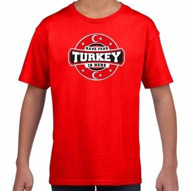 Have fear turkey / turkije is here supporter shirt / kleding met sterren embleem rood voor kids kopen