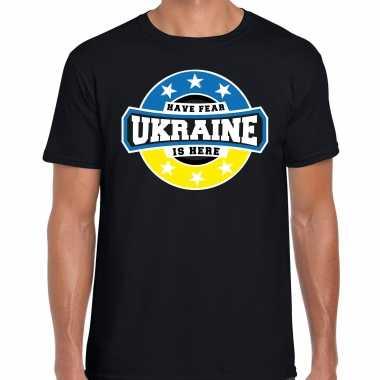 Have fear ukraine / oekraine is here supporter shirt / kleding met sterren embleem zwart voor heren kopen