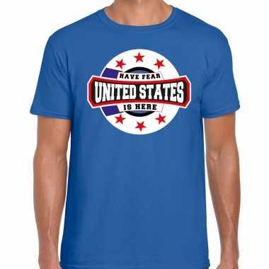 Have fear united states / amerika is here supporter shirt / kleding met sterren embleem blauw voor heren kopen