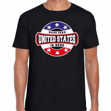 Have fear united states / amerika is here supporter shirt / kleding met sterren embleem zwart voor heren kopen