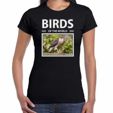 Havik foto t-shirt zwart voor dames - birds of the world cadeau shirt haviks liefhebber kopen