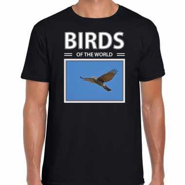 Havik foto t-shirt zwart voor heren - birds of the world cadeau shirt havik roofvogels liefhebber kopen