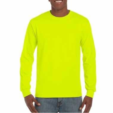 Heren shirt lange mouwen lichtgevend geel kopen
