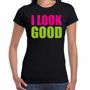 I look good fun tekst / verjaardag t-shirt zwart voor dames kopen