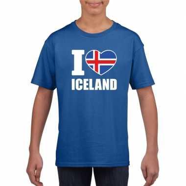 I love ijsland supporter shirt blauw jongens en meisjes kopen