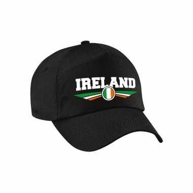 Ierland / ireland landen pet / baseball cap zwart voor kinderen kopen