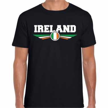 Ierland / ireland landen shirt met ierse vlag zwart voor heren kopen