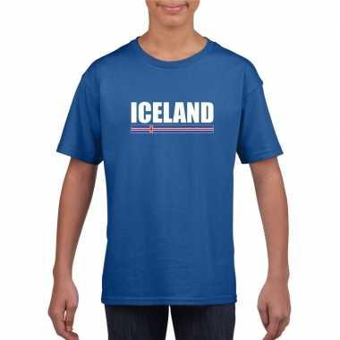 Ijslandse supporter t-shirt blauw voor kinderen kopen