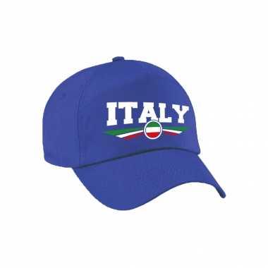 Italie / italy landen pet / baseball cap blauw voor volwassenen kopen