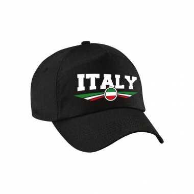 Italie / italy landen pet / baseball cap zwart voor kinderen kopen