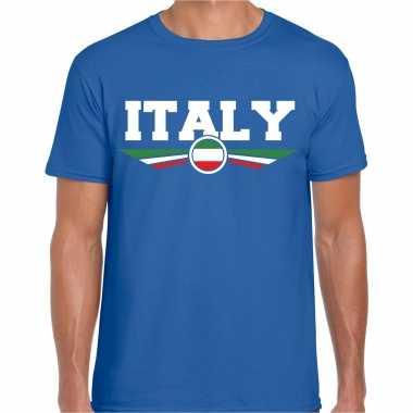 Italie / italy landen shirt met italiaanse vlag blauw voor heren kopen