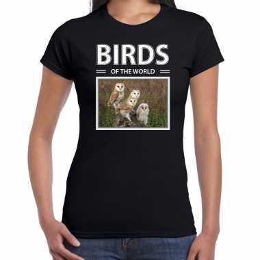 Kerkuil foto t-shirt zwart voor dames - birds of the world cadeau shirt kerkuilen liefhebber kopen