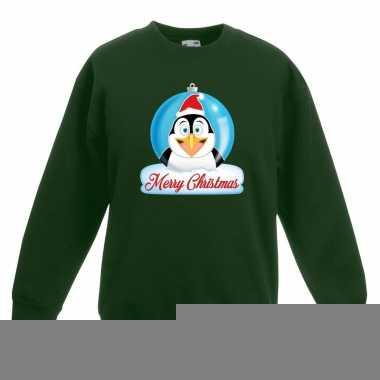 Kersttrui pinguin kerstbal groen voor jongens en meisjes kopen