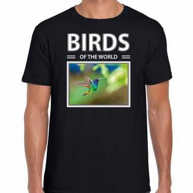 Kolibrie foto t-shirt zwart voor heren - birds of the world cadeau shirt kolibries liefhebber kopen
