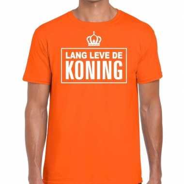 Lang lebe der konig duitse tekst shirt oranje heren kopen