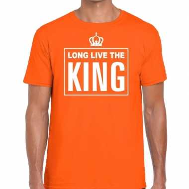 Long live the king engelse tekst shirt oranje heren kopen