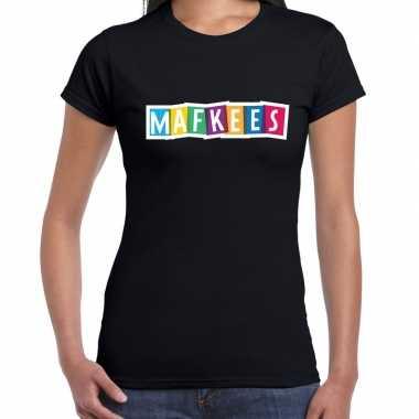 Mafkees fun tekst / verjaardag t-shirt zwart voor dames kopen