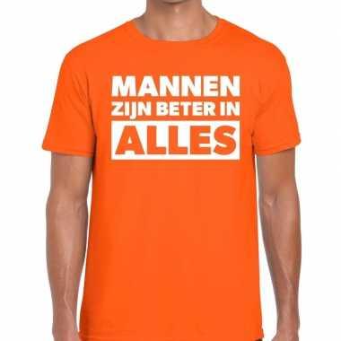 Mannen zijn beter in alles fun t-shirt oranje voor heren kopen