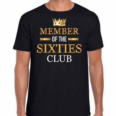 Member of the sixties club t-shirt - 60 jaar verjaardag shirt zwart voor heren kopen