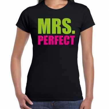 Mrs. perfect fun tekst / verjaardag t-shirt zwart voor dames kopen