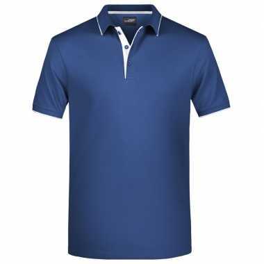 Navy/wit premium poloshirt golf pro voor heren kopen