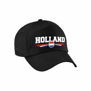 Nederland / holland landen pet / baseball cap zwart voor kinderen kopen