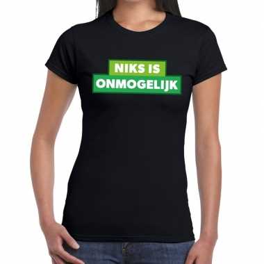 Niks is onmogelijk zwarte cross t-shirt zwart voor dames kopen