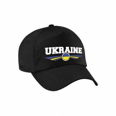 Oekraine / ukraine landen pet / baseball cap zwart voor kinderen kopen