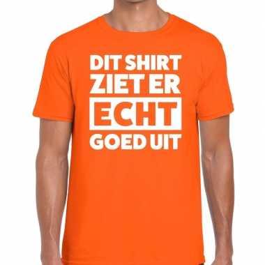 Oranje t-shirt heren met tekst dit shirt ziet er echt goed uit kopen