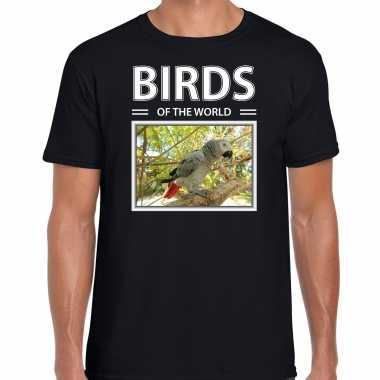 Papegaai foto t-shirt zwart voor heren - birds of the world cadeau shirt papegaaien liefhebber kopen