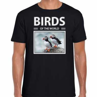 Papegaaiduiker foto t-shirt zwart voor heren - birds of the world cadeau shirt papegaaiduikers liefhebber kopen
