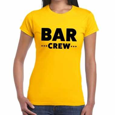 Personeel t-shirt geel met bar crew bedrukking voor dames kopen