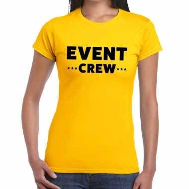 Personeel t-shirt geel met event crew bedrukking voor dames kopen